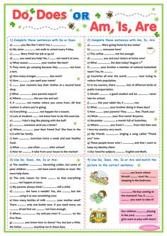 Do Does and Am Is Are practice sheets - Free English Resource for Teacher Grammar Exercises, English Exercises, Writing Exercises, English Worksheets Pdf, Grammar Worksheets, English Test, Learn English, English Class, English Grammar