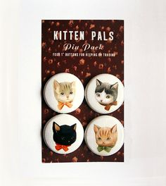 Pinback Button Pack Kitten Pals by theblackapple on Etsy, $8.00