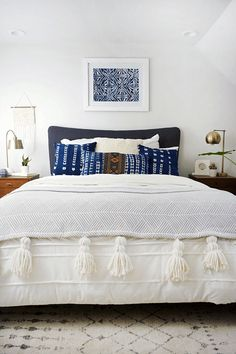 indigo pillows and oversized tassels