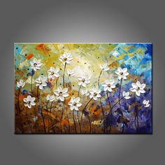 Hand Painted High Quality Abstract Modern Flowers Oil Painting On Canvas Abstract Flower Oil Paintings For Kitchen And Bedroom Canvas Paintings For Sale, Canvas Art For Sale, Texture Painting On Canvas, Hand Painting Art, Knife Painting, Large Painting, Easy Flower Painting, Acrylic Painting Flowers, Abstract Flowers