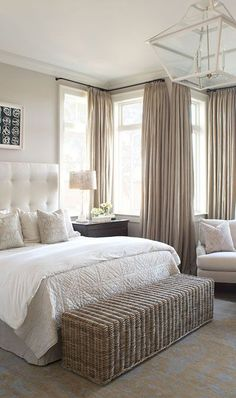 "Natural Linen drapes in a serene neutral bedroom. Fabric to use Tuscany Linen in ""Linen"" or ""Oatmeal Slub"" from www.tonicliving.com or click on image #tonicliving #toniclivingfabric #getthelook (image via Wayne Windham Architects) #getthelook #BeddingMasterBedroom"