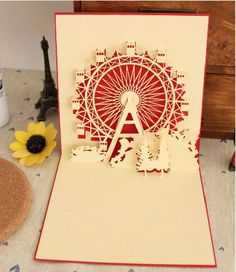 Pop up Ferris wheel card! Origami And Kirigami, Paper Crafts Origami, Diy Paper, New Year Greeting Cards, New Year Card, Pop Out Cards, Tarjetas Pop Up, Paper Pin, Envelopes