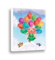 Nursery Canvas Art - Cute Pig - Farm Animal - Baby Shower Gift - Baby Nursery Wall Art - Gender Neutral Baby - Kids Room Decor - Balloons  by PinwheelCanvasArt on Etsy