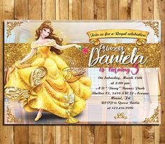 SALE 50 % OFF Beauty and the Beast Invitation, Beauty and the Beast Birthday, Princess Belle Invites, Beauty and the Beast Thank You  MSBE_1