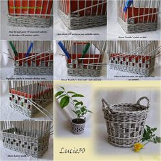 Woven paper craft is a nice way to recycle old newspaper and magazines, which can be turned into some useful household items, such as a storage basket. Here is a DIY tutorial on how to weave a nice storage basket with paper tubes made from old newspaper. Recycled Paper Crafts, Newspaper Crafts, Old Newspaper, Newspaper Basket, Recycled Magazines, Diy Storage, Storage Baskets, Diy Paper, Paper Crafting