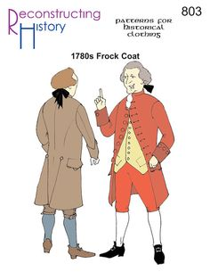 RC803 - Men's 1770's to 1780's Frock Coat, Colonial or Pirate Coat Sewing Pattern by Reconstructing History