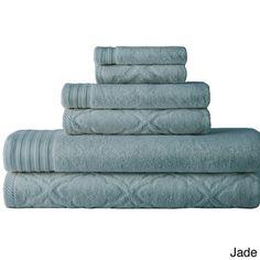 Great Detail - Geo Wave Jacquard Solid 6-piece Towel Set