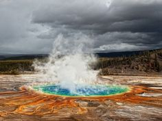 Grand Prismatic Spring in Yellowstone National Park...this geyser is fueled by a large magma chamber below