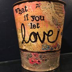 decorative shabby chic pail, inspirational art, inspirational love decor, cottage chic decor, decorative vase, inspirational love gift by Bedotted on Etsy