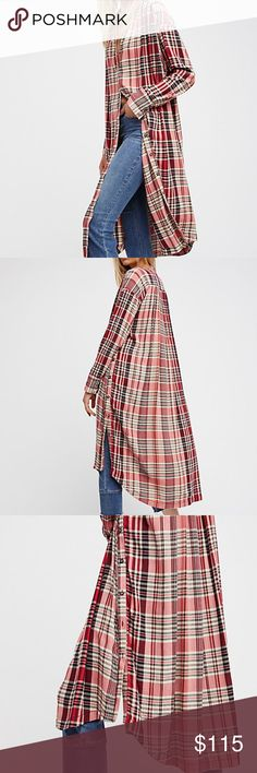 """FREE PEOPLE LORALEI TUNIC Lose yourself in '90s style with this supersoft plaid tunic that has lots of breezy movement thanks to steep side slits and a slender collar. 41 1/2"""" front length; 47"""" back length (size Medium) Front button closure Band collar Long sleeves with three-button cuffs 100% rayon Hand wash, line dry Imported Free People Tops Tunics"""