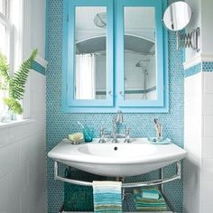 Backdrop and border of aqua Penny-round tiles, wall-mount sink gardenfresh