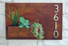 "20"" X 30"" Mid-century Metal Address Plaque With Succulent Planter - Horizontal…"