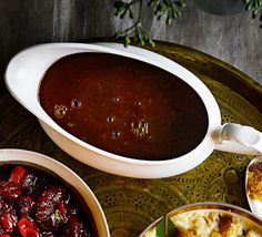 This full-flavoured, festive gravy can be made in advance - our secret ingredients of soy sauce and dried mushrooms add a deep hit of 'umami', or savouriness, to complement a roast