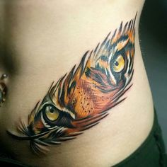 Tiger eyes in feather