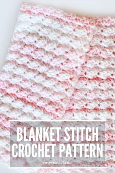 This beginner friendly crochet blanket pattern is the perfect way to use this easy blanket stitch design! Make a free & easy baby blanket crochet piece! Crochet Stitches For Blankets, Crochet Baby Blanket Free Pattern, Crochet Baby Blanket Beginner, Crochet Stitches Patterns, Crocheted Afghans, Crochet Baby Shawl, Baby Afghan Patterns, Easy Baby Blanket, Pink Blanket