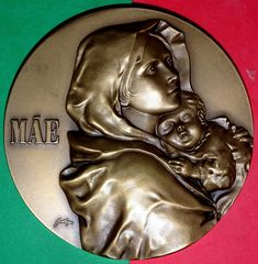 baltazar medal Catholic Medals, Small Words, Bronze Sculpture, Badge, Metal, Artist, Design, Artists