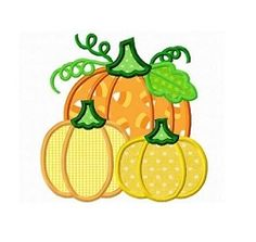 Three Pumpkins Applique - 3 Sizes! | What's New | Machine Embroidery Designs | SWAKembroidery.com Dollar Applique