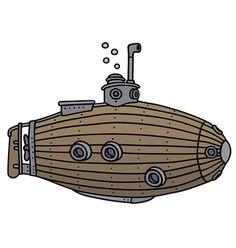 The vintage wooden submarine Fish Background, Underwater Background, Cartoon Background, Underwater Cartoon, Underwater Animals, Ship Vector, Fish Vector, Castle Cartoon, Castle Vector