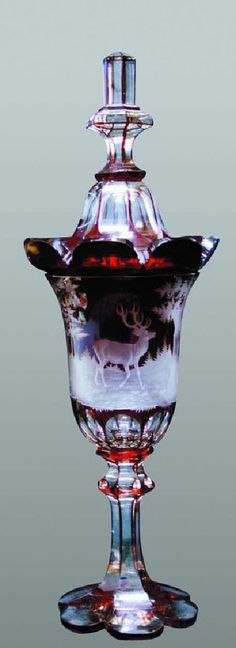 Ruby & Clear Lidded Chalice -- Ornately decorated w/ hunting scene in relief -- Czechoslovakia