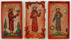 """Three different versions of St. Francis of Assisi. Mixed media on wood, each 4"""" x 7"""". L and R versions in private collections. Middle version $125"""