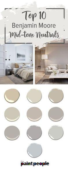 Luxury Bedroom Paint Colors Neutral Brown Top 10 Benjamin Moore Mid tone Neutrals warm to cool Room Wall Colors, Kitchen Wall Colors, Bedroom Paint Colors, Interior Paint Colors, Paint Colors For Home, Living Room Colors, House Colors, Brown Paint Colors, Best Neutral Paint Colors