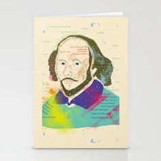 Portrait of William Shakespeare-Hand drawn Stationery Cards by famenxt - $12.00