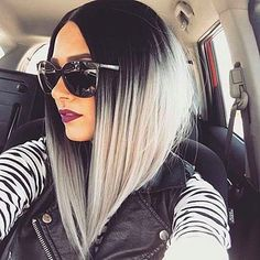 Black and Grey Ombre Bob Wig for Women Short Straight Full Wig - a - Accessories, Hair Replacement Wigs, Straight # # Grey Ombre Hair, Grey Wig, Black Ombre, Blonde Ombre, Angled Bob Haircuts, Bob Haircuts For Women, Synthetic Lace Front Wigs, Synthetic Wigs, Short Hair Cuts