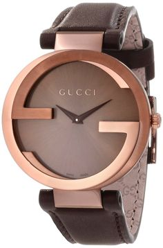 Gucci Women's #YA133309 Interlocking Brown Strap Watch