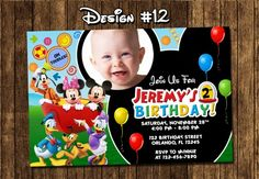 Mickey Mouse Clubhouse Birthday Party Photo Invitations - Printable