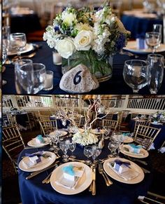 navy or dark blue tablecloths with white chair: