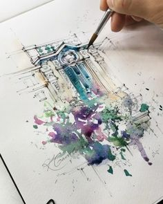 Ink, pen and watercolor, watercolor projects, watercolour tutorials, waterc Watercolor Art Face, Watercolor Journal, Watercolor Art Paintings, Watercolor Projects, Watercolour Tutorials, Watercolor Sketch, Watercolor Artists, Watercolor Illustration, Watercolor Ideas