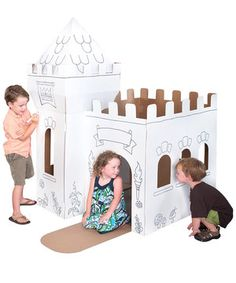 Sound the horns and lower the drawbridge! This easy-to-assemble cardboard set comes ready to decorate, so valiant knights and adventurous princesses can create a custom look. It's spacious enough for two to three kids!
