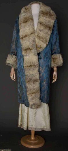 Lame and fur opera coat, art deco pattern