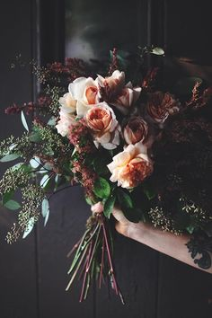 alternative bouquet: white peonies & spirea I love this shape with maybe delphiniums/thistle or seeded eucalyptus ?