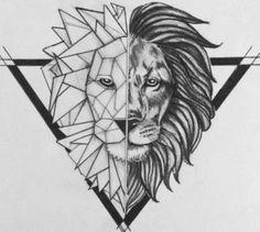 Half-geometric lion head in black triangle frame tattoo design Geometric Lion Tattoo, Geometric Drawing, Geometric Art, Pencil Art Drawings, Art Drawings Sketches, Tattoo Drawings, Graffiti Tattoo, Lion Tattoo Design, Tattoo Designs Men