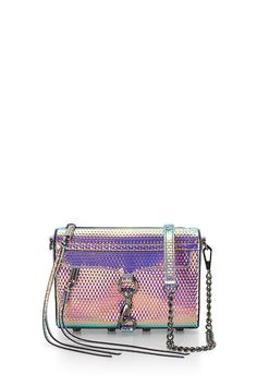 Mini M.A.C. Crossbody - A petite take on Rebecca's classic M.A.C. clutch, this handbag is much roomier than it looks. It's big enough to fit your phone, keys, wallet and makeup essentials, but sleek enough so that it won't weigh you down. Wear it on your shoulder or crossbody with the adjustable chain strap.Style #: HF36GHOX01