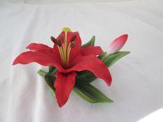 Andrea by Sadek Red Lily Flower  & Bud Porcelain Figurine