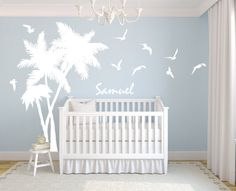 Feel the breeze as the fronds sway to and fro with this vinyl wall art mural.    Approximate Dimensions: 156.0w x 114.5h(as shown)    Palm