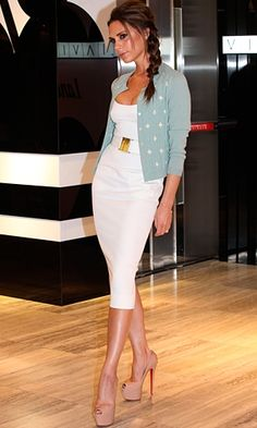 "Victoria Beckham looking perfect as always. This is a Victoria Beckham dress, paired with a sweet powder blue cardigan... those LB's are perfect, and her ""messy"" side swept braid makes it look effortless!"