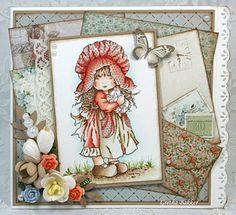 Sweet card using Sarah Kay image   also good as a scrapbook page