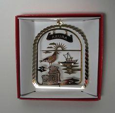 Aruba Brass Ornament Caribbean Island Vacation Travel Souvenir Gift Collectible