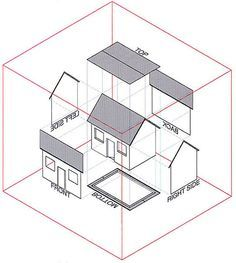 (KYUCHAN LEE) Indicate a simple orthographic drawing for house. It is simple, but also it shows a clear example of architecture orthographic. Working Drawing, Drawing Skills, Drawing Sketches, Orthographic Projection, Orthographic Drawing, Autocad, Isometric Drawing Exercises, Oblique Drawing, Interesting Drawings