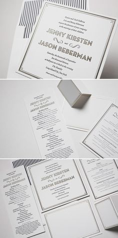 True Vintage Letterpress and Foil Stamped Wedding Invitations