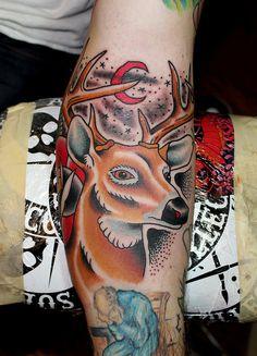 deer tattoo myke chambers by Myke Chambers Tattoos, via Flickr