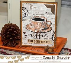 crafty goodies: Fall Coffee Lovers Blog Hop. Darkroom Door Coffee Time Rubber Stamp Set, Floral and Gazette Background Stamps.