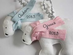 Handmade personalized polar bear ornaments from one of our favorite little shops. So sweet for new babies or kids.