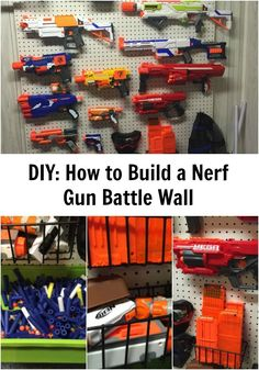 How to Build a Nerf Gun Battle Wall You are in the right place about Nerf Gun Storage outdoor Here w Nerf Gun Storage, Toy Storage, Wall Storage, Storage Ideas, Pistola Nerf, Kids Bedroom, Bedroom Decor, Bedroom Ideas, Nerf Party