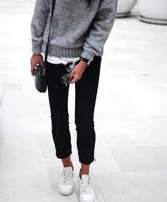 a knit over cuffed jeans