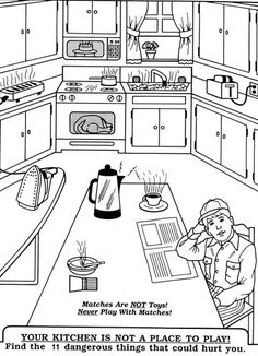 Go Back  Gallery For  Kitchen Safety Coloring Pages  DIY Kids