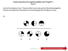 CogAT Form 7 practice questions for 1st to 2nd grade.